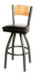 Oak Street SL2150-1S-P Swivel Bar Stool w/ Foot Rest & Solid Birch Back, Black Frame
