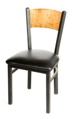 Oak Street SL2150-P Dining Chair w/ Solid Birch Back & Black Powder Coated Frame