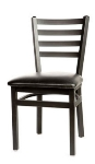 Oak Street SL2160SV Dining Chair w/ Metal Ladder Back & Steel Tubing, Silver Vein
