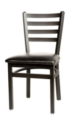 Oak Street SL2160 Dining Chair w/ Metal Ladder Back & Black Powder Coated Frame