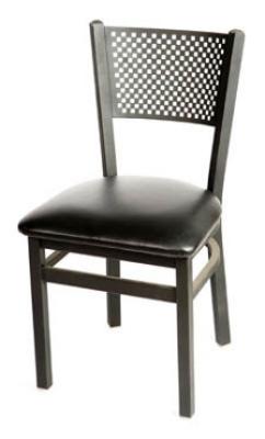 Oak Street Mfg SL2161 Dining Chair w/ Metal Checker Back & Black Powder Coated Frame