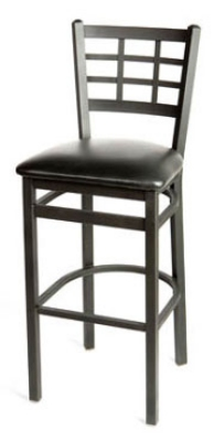 Oak Street SL2163-1 Bar Stool w/ Foot Rest & Metal Window Pane Back, Black Frame