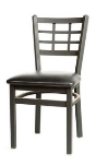 Oak Street SL2163 Dining Chair w/ Metal Window Pane Back & Black Powder Frame