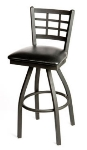 Oak Street SL2163-S Swivel Bar Stool w/ Metal Window Pane Back & Black Powder Frame