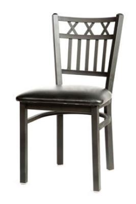 Oak Street Mfg SL2164 Dining Chair w/ Metal Vertical X Back & Black Powder Coated Frame