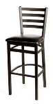 Oak Street SL2301 Bar Stool w/ Foot Rest & Metal Ladder Back, Black Powder Frame