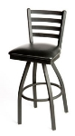 Oak Street SL2301-S Swivel Bar Stool w/ Foot Rest & Metal Ladder Back, Black Frame