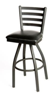 Oak Street SL2301-S Swivel Bar Stool w/ Foot Rest & Metal Ladder Back, Black Frame