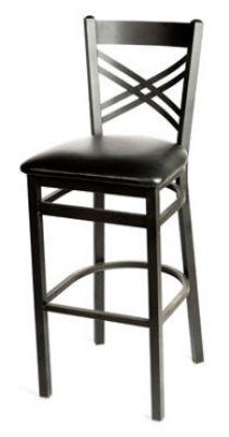 Oak Street SL2130-1 Bar Stool w/ Metal Cross Back & Foot Rest, Black Powder Coat Frame