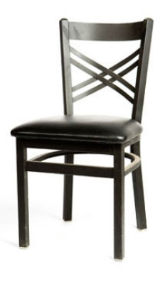 Oak Street SL2130 Dining Chair w/ Metal Cross Back & Black Powder Coated Frame