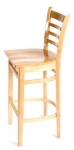 Oak Street Mfg WB101NT Beech Frame Bar Stool w/ Ladder Back & Wood Seat, Natural Finish