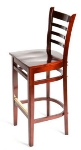 Oak Street WB101MH Beech Frame Bar Stool w/ Ladder Back & Wood Seat, Mahogany Finish