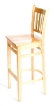 Oak Street WB102NT Beech Frame Bar Stool w/ Vertical Back & Wood Seat, Natural Finish