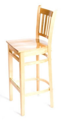 Oak Street Mfg WB102NT Beech Frame Bar Stool w/ Vertical Back & Wood Seat, Natural Finish