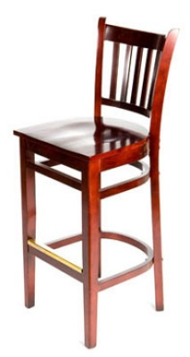 Oak Street WB102MH Beech Frame Bar Stool w/ Vertical Back & Wood Seat, Mahogany