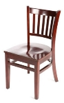 Oak Street WC102MH Beech Frame Dining Chair w/ Vertical Back & Wood Seat, Mahogany
