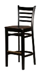 Oak Street WB101-BLK Beech Frame Bar Stool w/ Ladder Back & Wood Seat, Black Finish