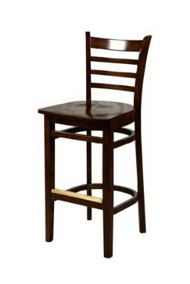 Oak Street WB101WA Beech Frame Bar Stool w/ Ladder Back & Wood Seat, Walnut Finish
