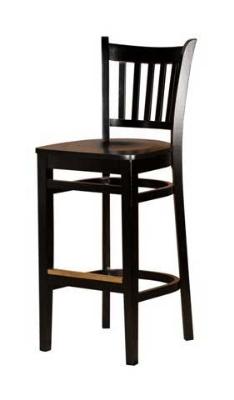 Oak Street WB102-BLK Beech Frame Bar Stool w/ Vertical Back & Wood Seat, Black Finish