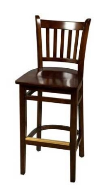 Oak Street WB102WA Beech Frame Bar Stool w/ Vertical Back & Wood Seat, Walnut Finish