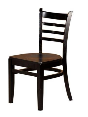 Oak Street WC101-BLK Beech Frame Dining Chair w/ Ladder Back & Wood Seat, Black Finish