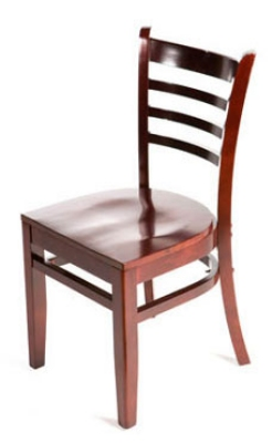 Oak Street WC101MH Beech Frame Dining Chair w/ Ladder Back & Wood Seat, Mahogany