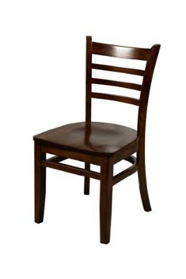 Oak Street WC101WA Beech Frame Dining Chair w/ Ladder Back & Wood Seat, Walnut Finish