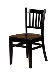 Oak Street WC102-BLK Beech Frame Dining Chair w/ Vertical Back & Wood Seat, Black