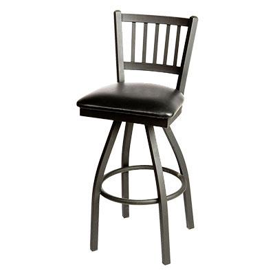 Oak Street SL2090-S-N Swivel Bar Stool w/ Metal Vertical Back & Foot Rest, Natural Wood Seat