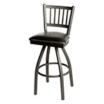 Oak Street SL2090-S-WB Swivel Bar Stool w/ Metal Vertical Back & Foot Rest, Black Wood Seat