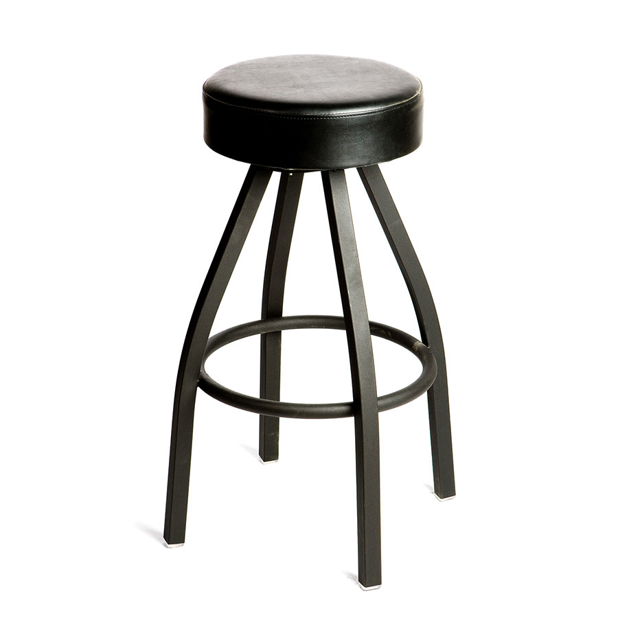Oak Street SL2132-BLK Swivel Bar Stool w/ Tapered Frame & Button Top Round Black Seat