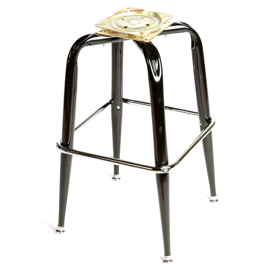 Oak Street Mfg SL2133BOTTOM Replacement Bar Stool Frame w/ Single Chrome Ring Base, Black