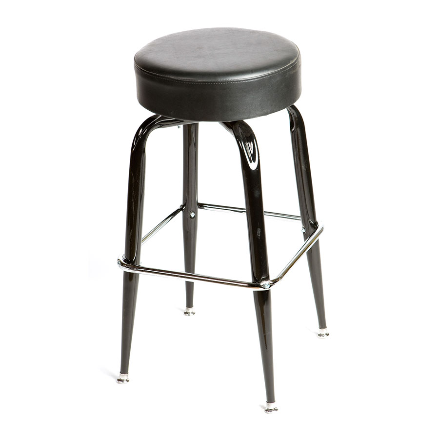 Oak Street SL2135-BLK Swivel Bar Stool w/ Single Chrome Ring & Black Button Top Seat