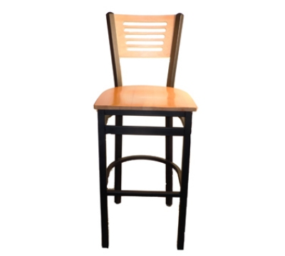 Oak Street Mfg SL2150-1-5 Bar Stool w/ 5-Line Solid Birch Back & Black Powder Coated Frame