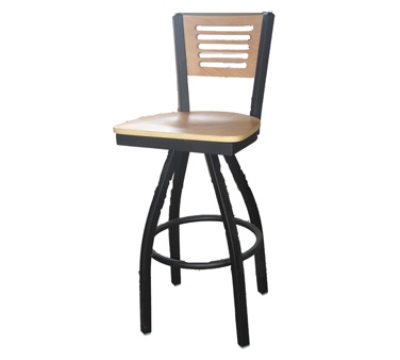 Oak Street SL2150-1S-5 Swivel Bar Stool w/ 5-Line Solid Birch Back & Black Powder Frame