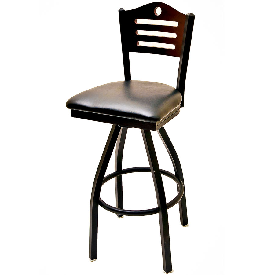 Oak Street SL2150-1S-SH Swivel Bar Stool w/ Shoreline Solid Birch Back, Black Frame