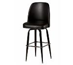 Oak Street SL3133-BLK Swivel Bar Stool w/ Square Ring & Black Vinyl Foam Bucket Seat