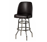 Oak Street SL3134-BLK Swivel Bar Stool w/ Double Ring & Black Vinyl Foam Bucket Seat