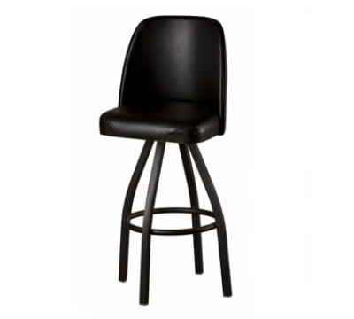 Oak Street Mfg SL3136-BLK Swivel Bar Stool w/ Single Ring & Black Vinyl Foam Bucket Seat
