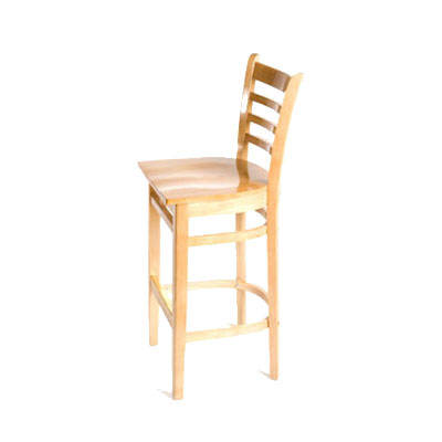 Oak Street WB101NT Beech Frame Bar Stool w/ Ladder Back & Wood Seat, Natural Finish