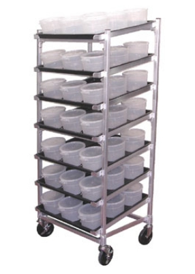 Doughxpress DXDC5 Dough Ball Storage Cart w/ Trays, Center Ribs & (63) 2-qt Tubs