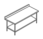 Select Stainless 4SUB24 Work Table w/ 5-in Backsplash & Undershelf, 24x48-in, Stainless