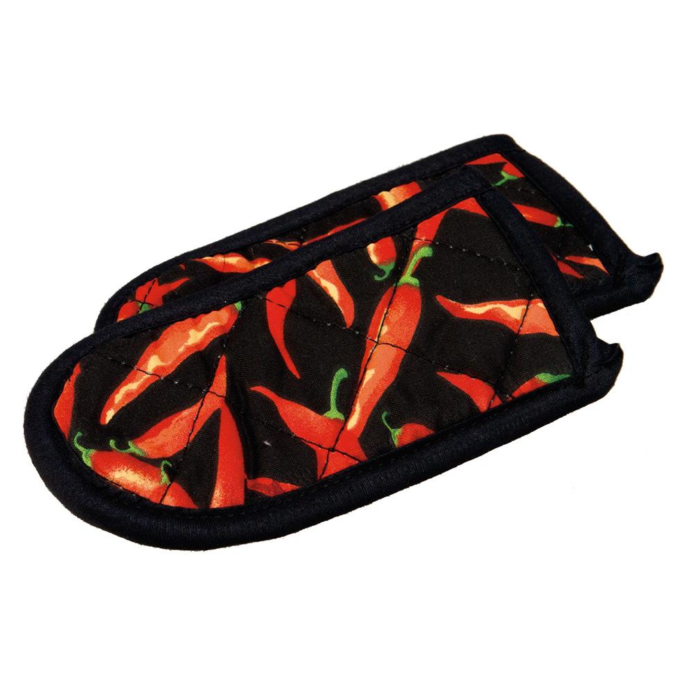 Lodge 2HHC2 Hot Handle Mitt Set w/ Chili Pepper Print on Black