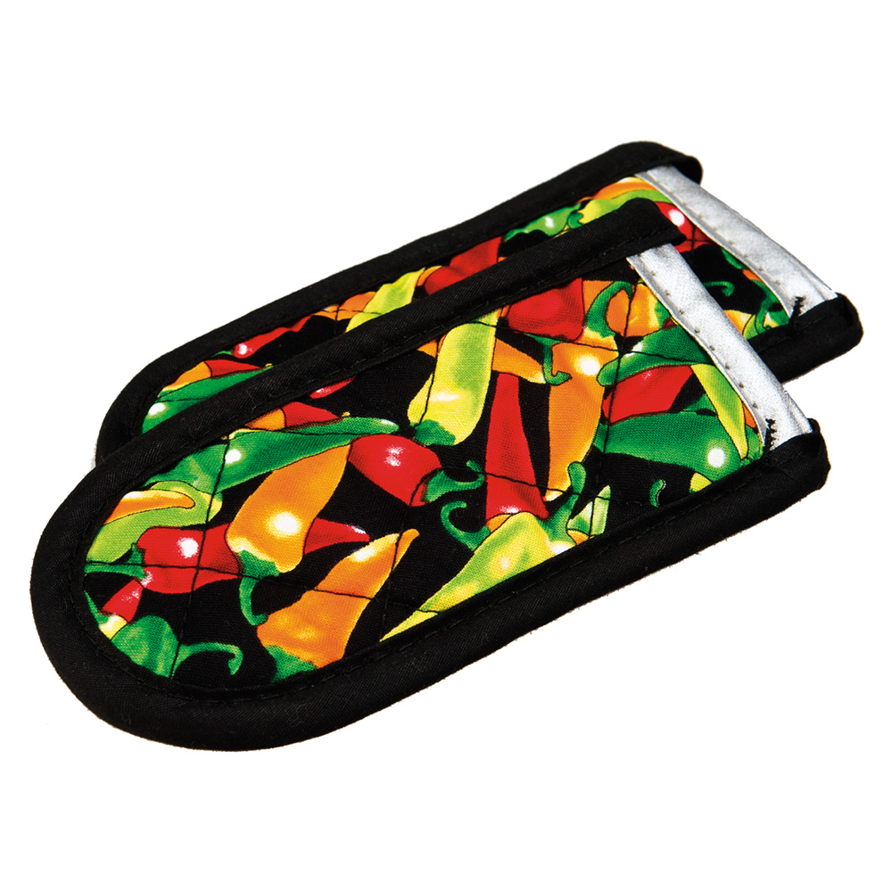 Lodge 2HHMC2 Hot Handle Mitt Set w/ Multi-Color Pepper Print on Black