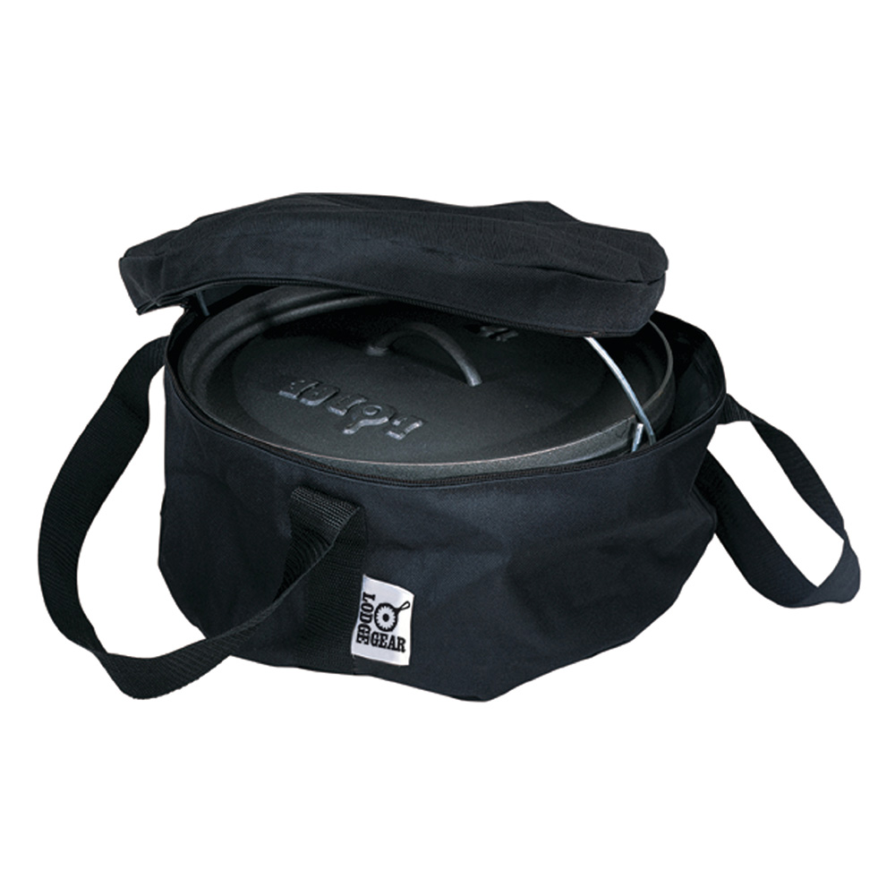 "Lodge A1-10 10"" Camp Dutch Oven Tote Bag w/ Double-Padded Bottom, Black Polyester"
