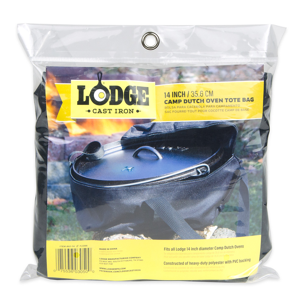 """Lodge A1-14 14"""" Camp Dutch Oven Tote Bag w/ Double-Padded Bottom, Black Polyester"""