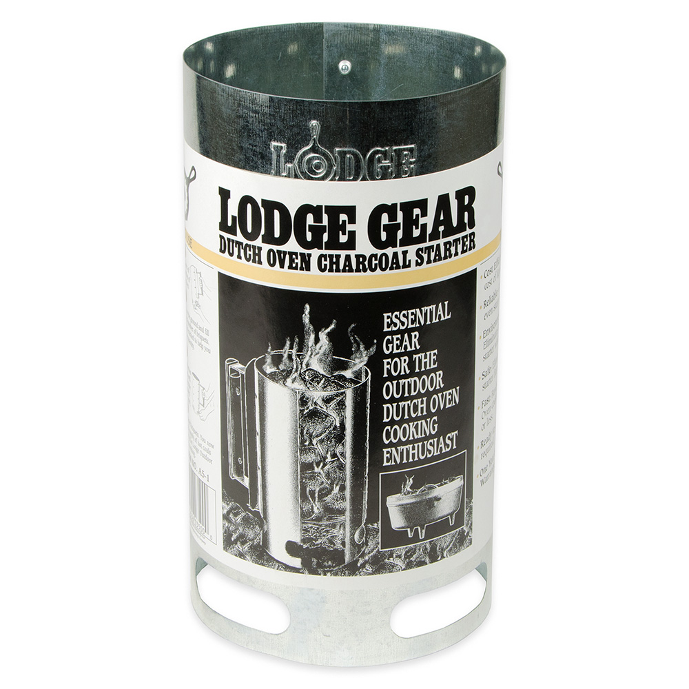 """Lodge A5-1 6.5"""" Round Camp Charcoal Chimney Starter w/ Wooden Handle"""
