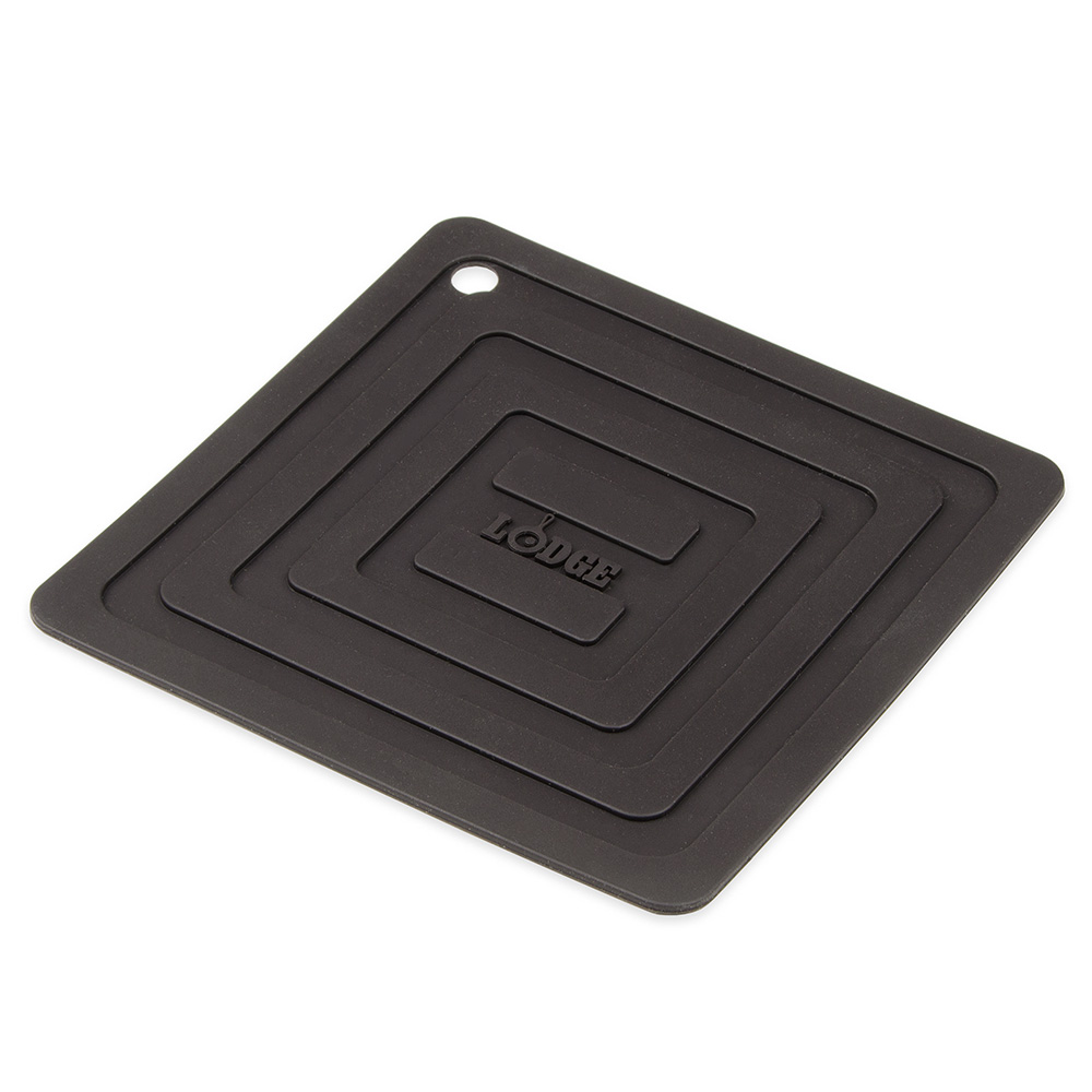 "Lodge AS6S11 Square Silicone Potholder, Heat Resistant to 250°F, 5.87x5.87"", Black"