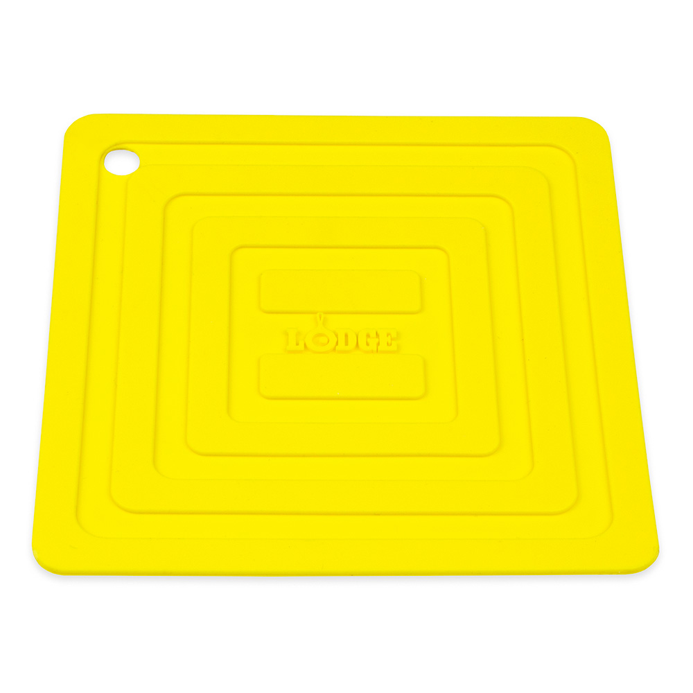"""Lodge AS6S21 Square Silicone Potholder, Heat Resistant to 250°F, 5.87x5.87"""", Yellow"""