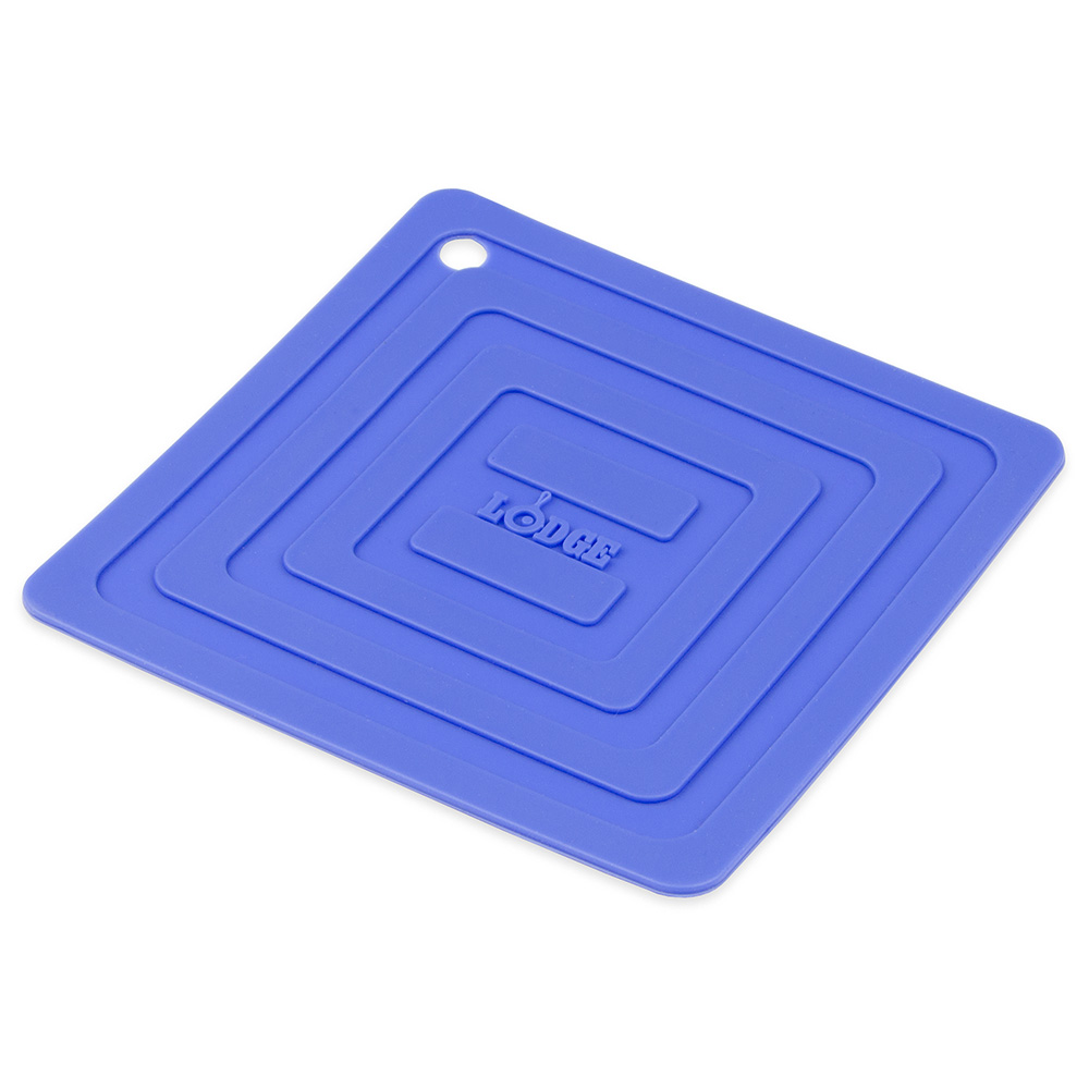 """Lodge AS6S31 Square Silicone Potholder, Heat Resistant to 250°F, 5.87x5.87"""", Blue"""